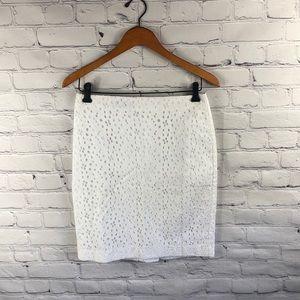 Talbots White Linen Floral Print Eyelit Skirt 4P